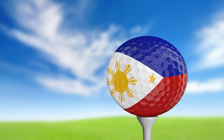filipino: Golf ball with Philippines flag colors sitting on a tee