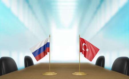 conversaciones: Rusia y Turqu�a y las relaciones acuerdo comercial conversa representaci�n 3D Foto de archivo