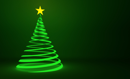 winter tree: Spiraled green ribbon Christmas tree background artwork Stock Photo