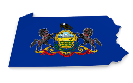 keystone: Geographic border map and flag of Pennsylvania, the Keystone State