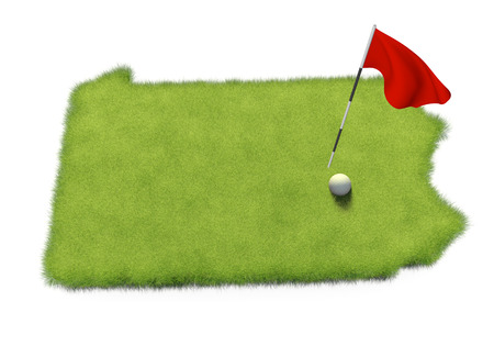 flag pole: Golf ball and flag pole on course putting green shaped like the state of Pennsylvania