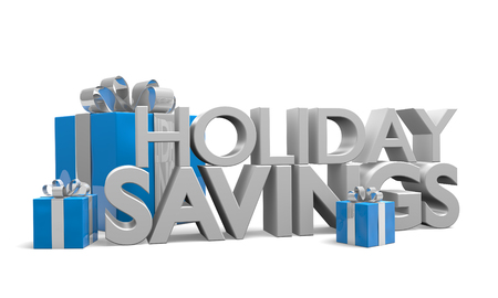 save: Holiday Savings 3D text and blue gift boxes tied with silver ribbons Stock Photo