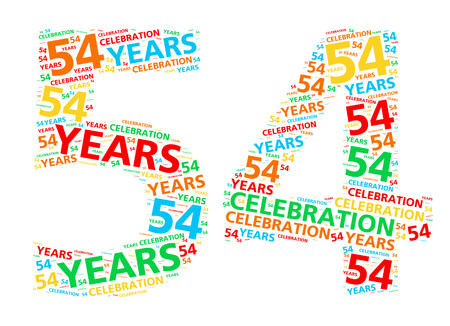 54: Colorful word cloud for celebrating a 54 year birthday or anniversary Stock Photo