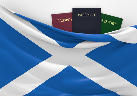 overseas visa: Travel and tourism in Scotland, with assorted passports
