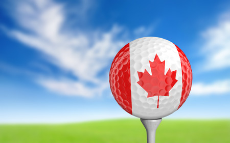 3d ball: Golf ball with Canada flag colors sitting on a tee Stock Photo