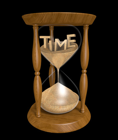 trickling: 3D text of the word time in an hourglass with trickling sand