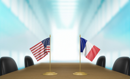 conversaciones: Estados Unidos y Francia, las relaciones y las negociaciones comerciales de acuerdo representación 3D