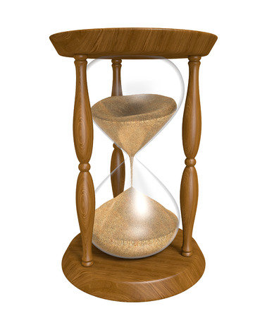 trickle down: 3D wood hourglass isolated over a white background