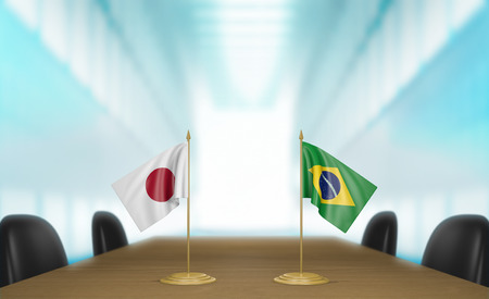 japanese flag: Japan and Brazil relations and trade deal talks 3D rendering