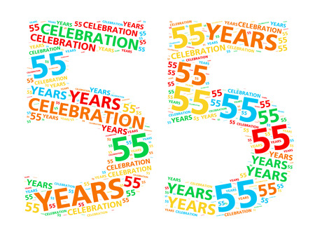 55 years old: Colorful word cloud for celebrating a 55 year birthday or anniversary Stock Photo