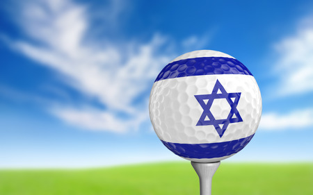 ball game: Golf ball with Israel flag colors sitting on a tee