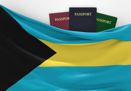 passport background: Travel and tourism in The Bahamas, with assorted passports