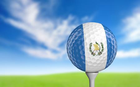 bandera de guatemala: Pelota de golf con colores de la bandera de Guatemala sentado en una camiseta