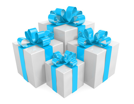 giftbox: Beautiful white gift box set wrapped in sky blue ribbons Stock Photo