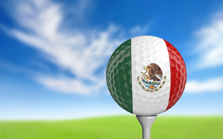 3d ball: Golf ball with Mexico flag colors sitting on a tee Stock Photo