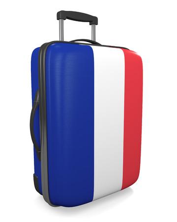 destinations: France vacation destination concept of a flag painted travel suitcase