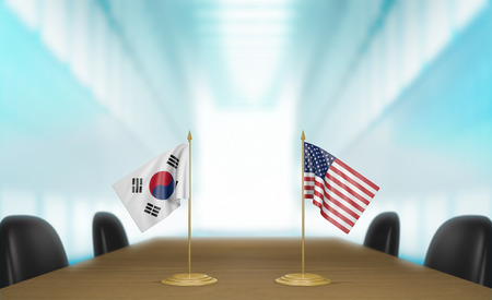 conversa: South Korea and United States relations and trade deal talks 3D rendering
