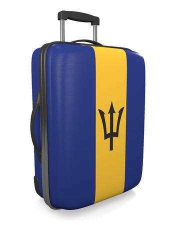 vacation destination: Barbados vacation destination concept of a flag painted travel suitcase