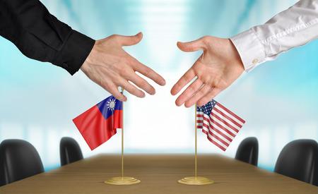 conversaciones: Taiwán y Estados Unidos diplomáticos dándose la mano para acordar acuerdo