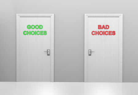 right vs wrong: Two doors labeled good choices and bad choices