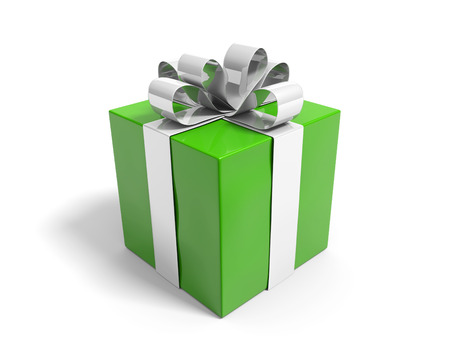 Green gift box neatly tied with a silver ribbon Reklamní fotografie