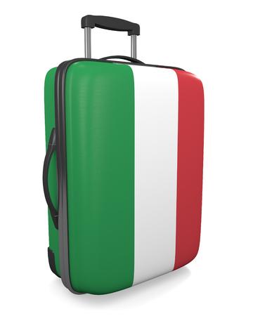 valise voyage: Italie destination de vacances concept d'une valise Voyage drapeau peint