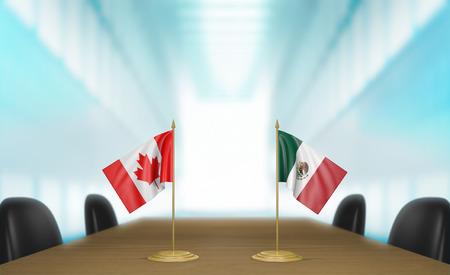 conversaciones: Canad� y M�xico las relaciones y las negociaciones comerciales de acuerdo representaci�n 3D