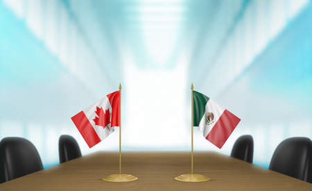 conversaciones: Canada and Mexico relations and trade deal talks 3D rendering