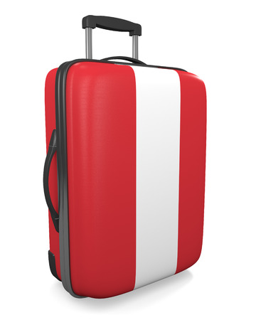 vacation destination: Peru vacation destination concept of a flag painted travel suitcase