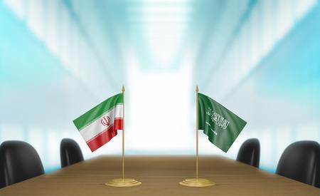 conversaciones: Ir�n y Arabia Saudita relaciones y negociaciones comerciales de acuerdo representaci�n 3D
