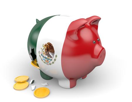 México Economía y Finanzas concepto de la pobreza y la deuda nacional Foto de archivo