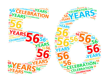 festive occasions: Colorful word cloud for celebrating a 56 year birthday or anniversary