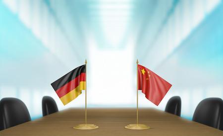conversaciones: Germany and China relations and trade deal talks 3D rendering Foto de archivo