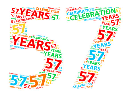 57: Colorful word cloud for celebrating a 57 year birthday or anniversary Stock Photo