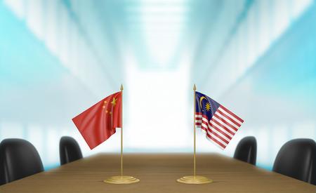 conversaciones: China y Malasia relaciones y acuerdo comercial habla representación 3D