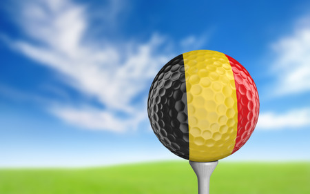 golf ball: Golf ball with Belgium flag colors sitting on a tee Stock Photo