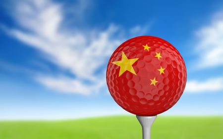 golfball: Golf ball with China flag colors sitting on a tee Stock Photo