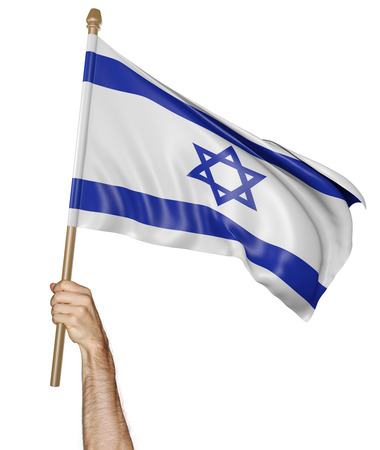 flag of israel: Hand proudly waving the national flag of Israel Stock Photo