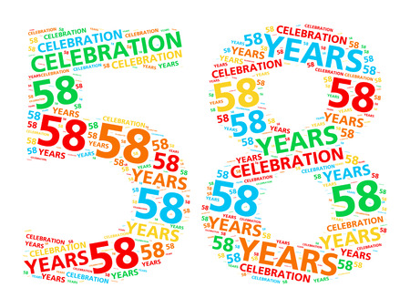 eight year old: Colorful word cloud for celebrating a 58 year birthday or anniversary