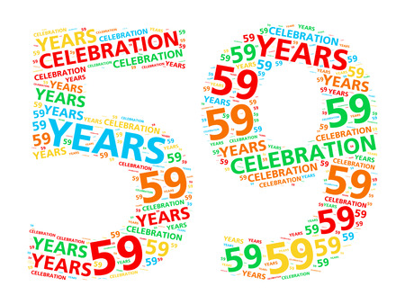 ninth birthday: Colorful word cloud for celebrating a 59 year birthday or anniversary Stock Photo