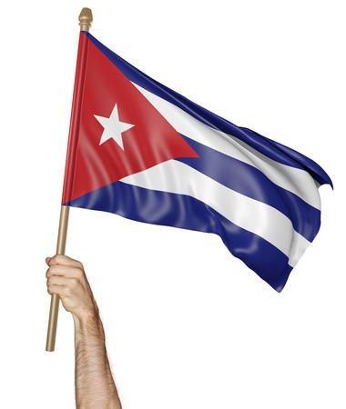 bandera de cuba: Agitando la mano con orgullo la bandera nacional de Cuba Foto de archivo