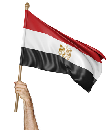 egypt revolution: Hand proudly waving the national flag of Egypt Stock Photo
