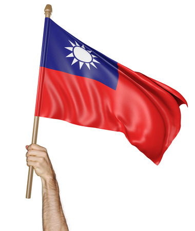 proudly: Hand proudly waving the national flag of Taiwan