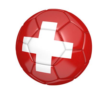 kickball: Football, alternatively called a soccer ball, with the national flag colors of Switzerland