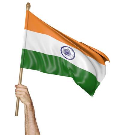 national flag: Hand proudly waving the national flag of India