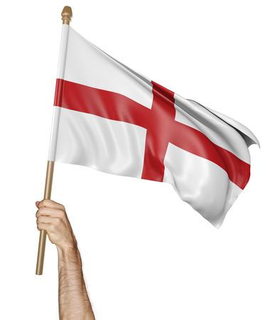 Hand trots zwaaiend met de nationale vlag van Engeland