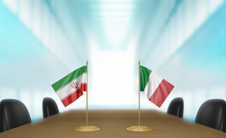 conversaciones: Ir�n e Italia las relaciones y las negociaciones comerciales de acuerdo representaci�n 3D Foto de archivo