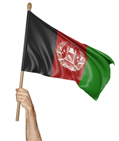 afghan flag: Hand proudly waving the national flag of Afghanistan