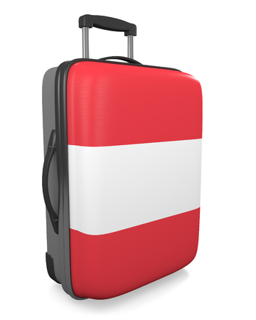 foreign nation: Austria vacation destination concept of a flag painted travel suitcase Stock Photo