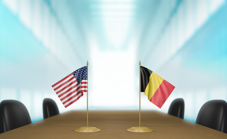 talks: United States and Belgium relations and trade deal talks 3D rendering